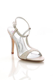 Silver Shimmer 'Punier' Rhinestones Sling-Back High Heel Dress Shoes