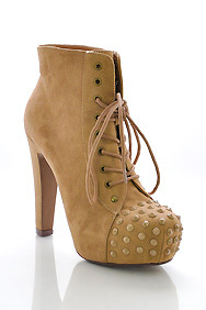 Taupe Suede 'Prius' Lace-Up Spiked Toe Platform Boots
