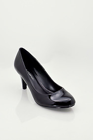 Black 'Kayson' Patent Leather Mid-Low Heel Pumps