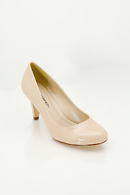 Nude 'Kayson' Patent Leather Mid-Low Heel Pumps
