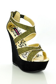 Black 'Spicy' Gold Glitter Strappy Open Toe Wedge Sandals