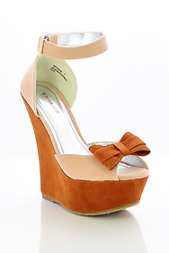 Brown and Nude 'Skyline' Ankle Buckle Strap Bow Peep Toe Wedge Shoes