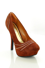 Brown 'Dash' Engraved Metal Detail High Heel Platform Shoes