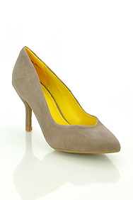 Taupe Faux Suede 'Deluxe' Pointed Toe Mid Heel Pumps