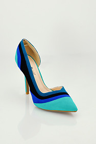 Turquoise 'Sensuous' Colorblock High Heel Stilettos
