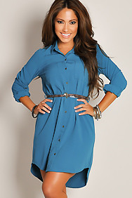 Solid Teal Long-Sleeve Button-Down Belted Shirtdress