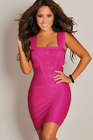 Sexy Designer Glittering Magenta Curve-Fitting Party Dress