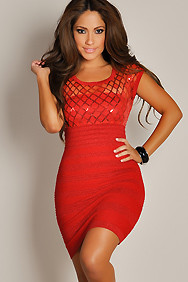 Designer Metallic Red With Sheer Sequined Top Bandage Dress