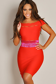 Sexy Rose Red Off Shoulder Strappy Body-Con Dress