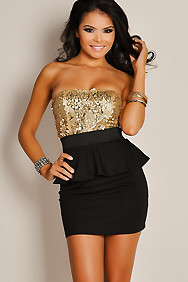 In Vogue Bronze Sequin Black Peplum Dress