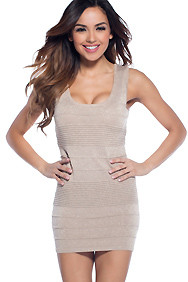 Sultry Glitter Taupe Brown Wide Strap Textured Knit Dress