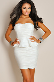 Sexy Strapless Ivory White Textured Peplum Formal Dress