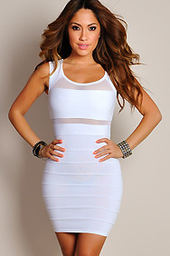 Sexy Frost White Grid Cut-Out Dress