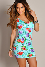 Sexy Green Floral Bloom Sleeveless Mini Dress
