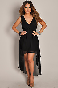 Black Studded Shoulders High Low Chiffon Dress
