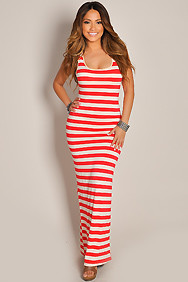 Sleeveless Coral and Cream Stripes Crochet Maxi Dress