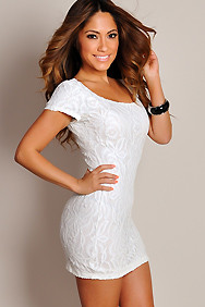 White Secret Garden All Over Lace Mini Dress