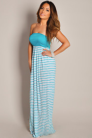 Cute White and Teal Stripes Strapless Maxi Dress