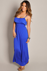Sexy Springtime Blue Spaghetti Strap Maxi Dress