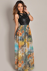 Exotic Faux Leather Floral Chiffon Maxi Dress