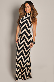 Sleek Black and Beige Chevron Print Maxi Dress