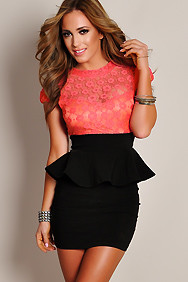 Celestial Coral Floral Lace Black Peplum Dress