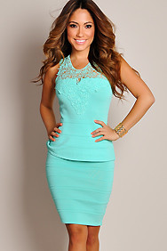 Sexy Pastel Green Crochet Top Peplum Dress