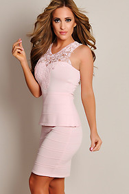 Sexy Pastel Pink Crochet Top Peplum Dress