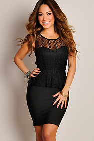 Heavenly Black Lace Sleeveless Peplum Dress