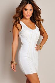 """Gina"" Creamy White Bandage Sexy Bodycon Dress"