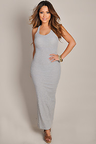 Cute and Casual Grey Sleeveless Tank Maxi Dress