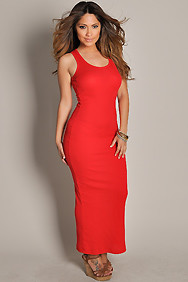Cute and Casual Red Sleeveless Tank Maxi Dress