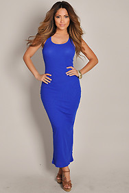 Cute and Casual Blue Sleeveless Tank Maxi Dress