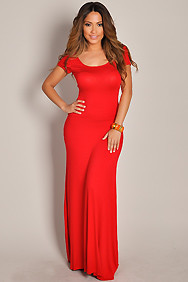 Breezy Rosey Red Cross-Back Maxi Dress