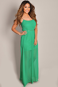 Sheer Beauty Green Waist Tie Chiffon Maxi Dress