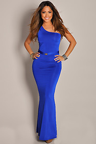 Ultra Sexy and Sleek Blue One Shoulder Maxi Dress Gown