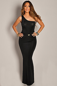 Ultra Sexy and Sleek Black One Shoulder Maxi Dress Gown