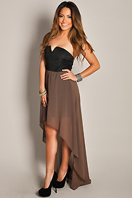 Sexy Mocha Brown Duo High Low Maxi Dress