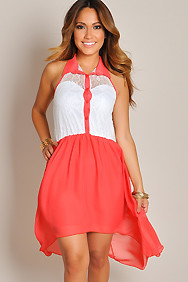Sleeveless Coral and White Lace Button-Up Maxi High Low Dress