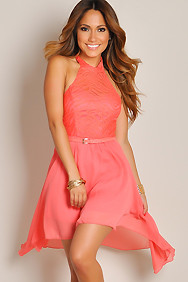 Sleeveless Coral Dream Angel Belted Lace High Low Dress