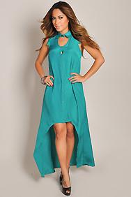 Trendy Silk Jade Green Button-Down High Low Maxi Dress