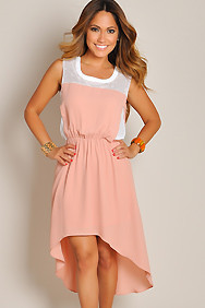 Sleeveless Peach Pink High Low Maxi Dress