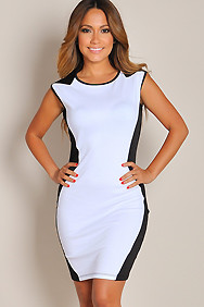 Sexy Black and White Colorblock Curve-Defining Dress