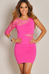Fun and Flirty Hot Pink One-Sleeve Dress