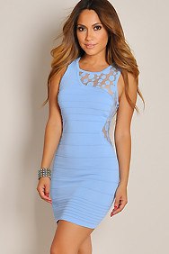 Asymmetric Soft Blue Polkadots Bandage Dress