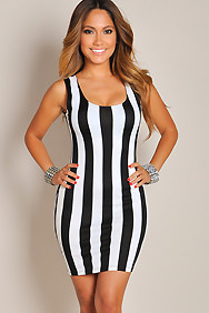Sexy Sleek Black and White Pin Stripes Dress