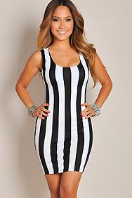 Sexy Sleek Black and White Pin Stripes Dress