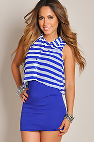 Sleeveless Royal Blue Stripe Button-Up Dress