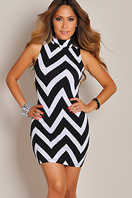Fierce White and Black Chevron Print Mini Dress