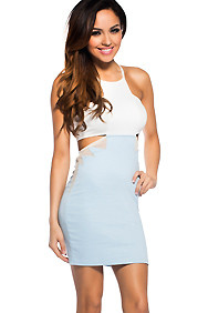 Hot Baby Blue Impressions Crop Dress